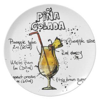 Cocktail Recipe Pina Colada Plate