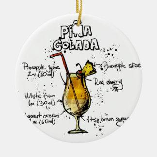 Cocktail Recipe Pina Colada Round Ceramic Decoration