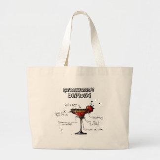 Cocktail Recipe Strawbeery Daiquiri Large Tote Bag