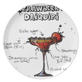 Cocktail Recipe Strawbeery Daiquiri Plate