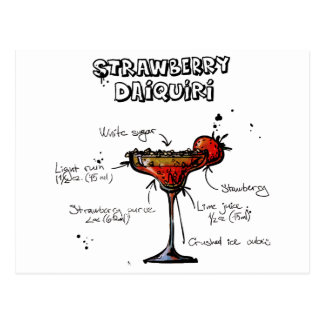 Cocktail Recipe Strawbeery Daiquiri Postcard