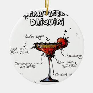 Cocktail Recipe Strawbeery Daiquiri Round Ceramic Decoration