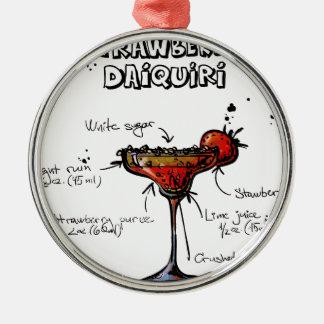 Cocktail Recipe Strawbeery Daiquiri Silver-Colored Round Decoration