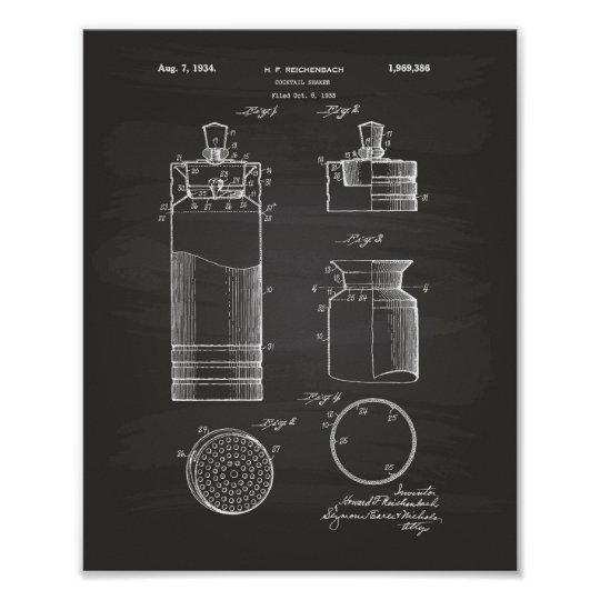 Cocktail Shaker 1934 Patent Art Chalkboard Poster