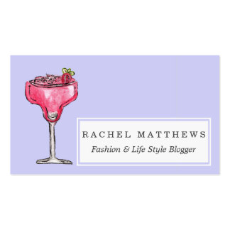 Cocktail Strawberry Daiquiri Red Watercolor Paint Pack Of Standard Business Cards