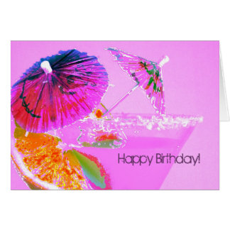 Cocktail umbrellas happy birthday card