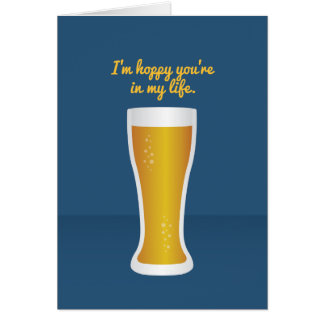 Cocktail Valentine: I'm hoppy you're in my life Card
