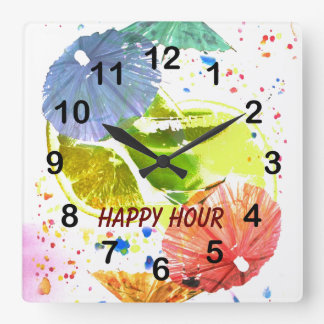 cocktail with colorful paper umbrellas clock