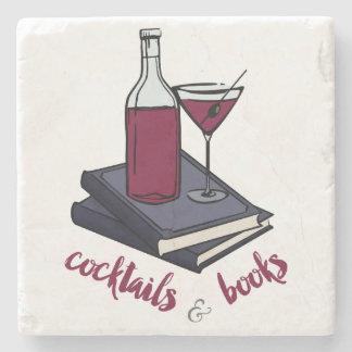 Cocktails and Books Sandstone Coaster Stone Beverage Coaster
