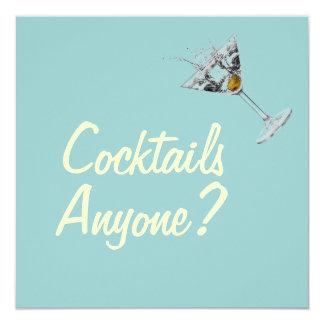 "Cocktails Anyone Mod Custom Invitations 5.25"" Square Invitation Card"