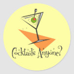 Cocktails Anyone? Round Sticker