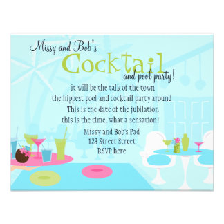 Cocktails at the Pool Personalized Announcement