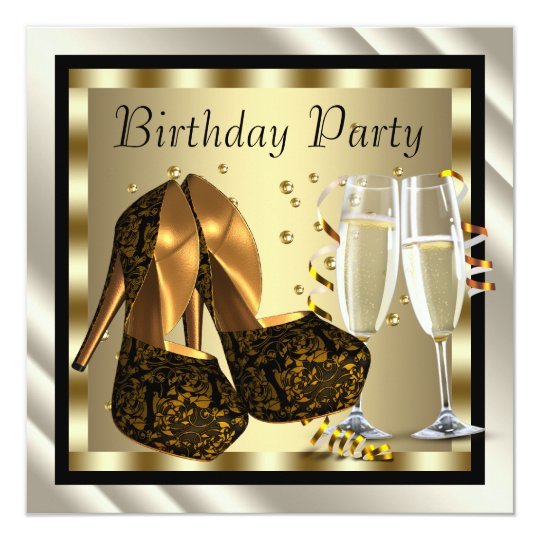 Cocktails Heel Shoes Womans Elegant Birthday Party Card
