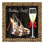 Cocktails High Heel Shoes Red Leopard Birthday 13 Cm X 13 Cm Square Invitation Card