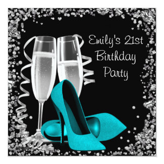 "Cocktails High Heels Black and Teal Birthday 5.25"" Square Invitation Card"