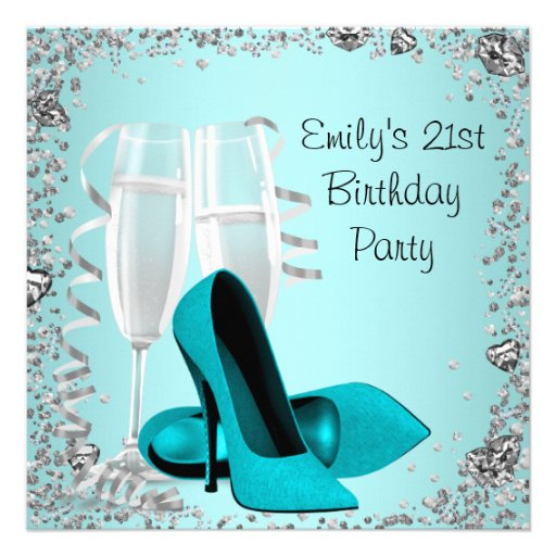 Cocktails High Heels Teal 21st Birthday Party Personalized Invitation