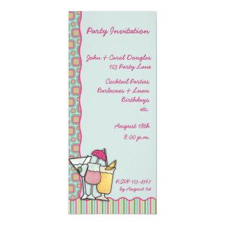 "Cocktails Invitation 4"" X 9.25"" Invitation Card"