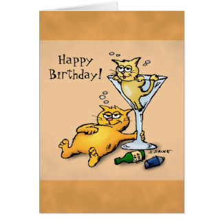 Cocktails & Kittens Cartoon Birthday Card