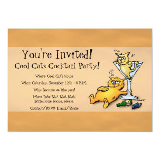 Cocktails & Kittens Gold Cocktail Party Invitation