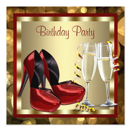 Cocktails Red High Heel Shoes Birthday Party Card