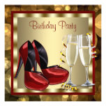 Cocktails Red High Heel Shoes Birthday Party Custom Announcement