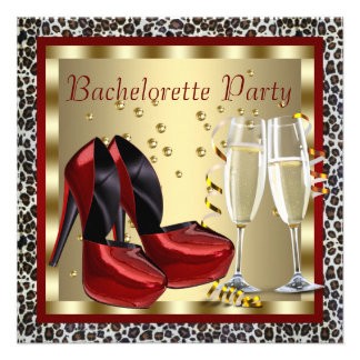Cocktails Red High Heel Shoes Leopard Bachelorette Personalized Invitations