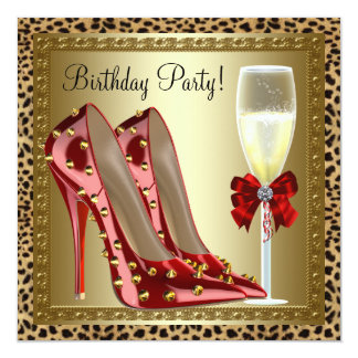 Cocktails Red High Heel Shoes Leopard Birthday Card