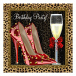 Cocktails Red High Heel Shoes Leopard Birthday Announcement