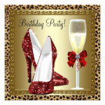 Cocktails Red High Heel Shoes Leopard Birthday Custom Announcements