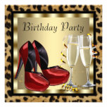 Cocktails Red High Heel Shoes Leopard Birthday Invites