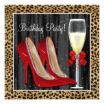 Cocktails Red High Heel Shoes Leopard Birthday Custom Invites