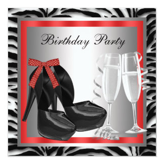 Cocktails Red High Heel Shoes Red Zebra Birthday Card
