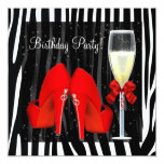 Cocktails Red High Heel Shoes Zebra Birthday Custom Invites