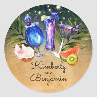Cocktails Tropical Beach Lights Wedding Classic Round Sticker