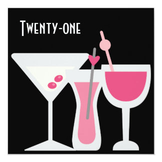 Cocktails Womans Pink Black 21st Birthday Party Card