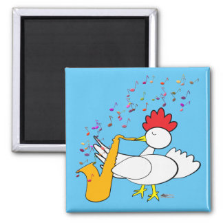 Cocky Sax Player Square Magnet