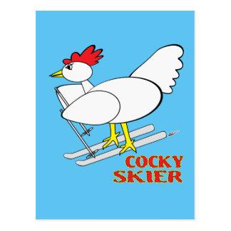 Cocky Skier Postcard