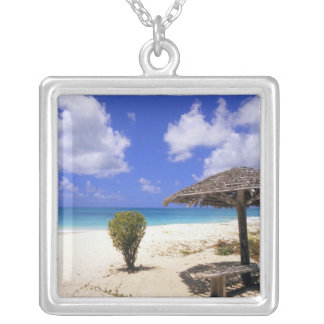 Coco Point Beach, Barbuda, Antigua Silver Plated Necklace