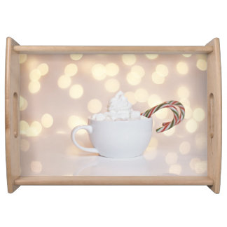 cocoa and candy canes serving trays