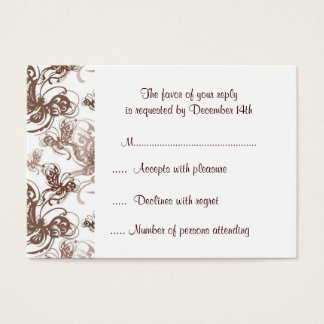 Cocoa and Taupe Deco Swirl RSVP Response Card