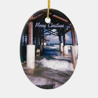 Cocoa Beach Pier Ceramic Oval Decoration