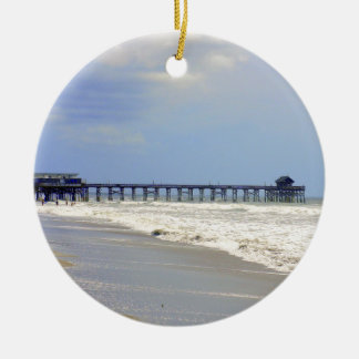 Cocoa Beach Pier Round Ceramic Decoration