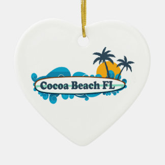 Cocoa Beach - Surf. Ceramic Heart Decoration