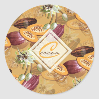 Cocoa Beans, Chocolate Flowers, Nature's Gifts Classic Round Sticker