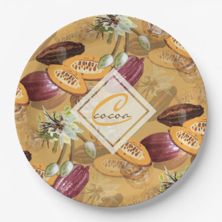 Cocoa Beans, Chocolate Flowers, Nature's Gifts Paper Plate