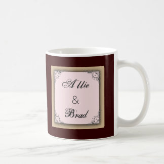 Cocoa brown and pink wedding classic white coffee mug