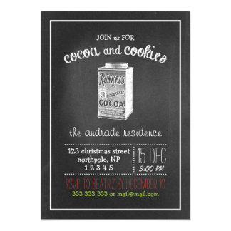 Cocoa Cookies Christmas Party Vintage Chalkboard 5x7 Paper Invitation Card