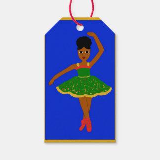 Cocoa Cutie Christmas Ballerina (Kiara) Gold/Blue Gift Tags