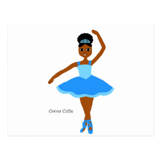 Cocoa Cuties Blue Ballerina Postcard
