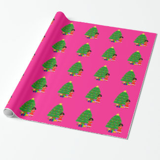 Cocoa Cuties Pink Christmas Wrapping Paper